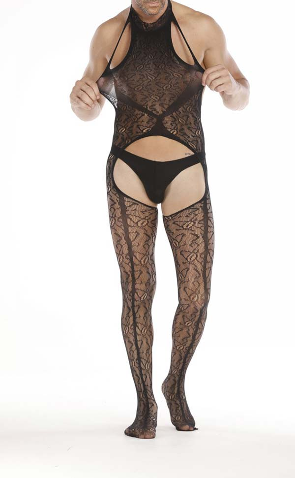 Men's Black Halter Neck Crotchless Bodystocking