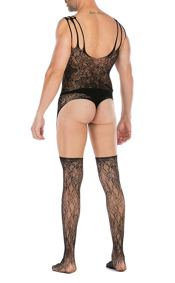 Men's Fishnet Fancy Sling Suspender Bodystocking