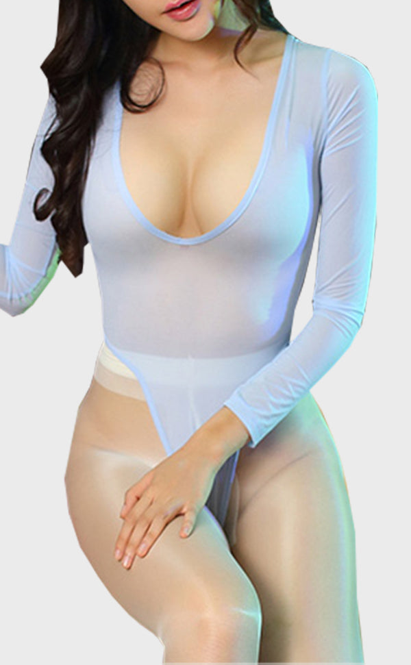 High Leg Solid Color Bodysuit Long Sleeve