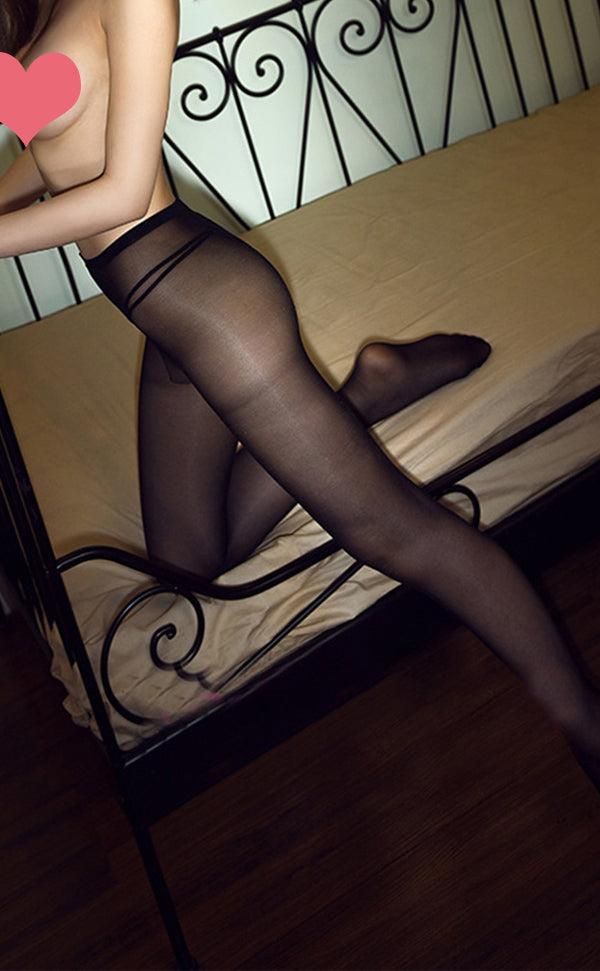 Semi Sheer Shiny Crotchless Tights