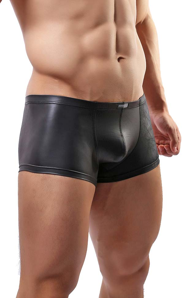 Men's Faux Leather U-Shape Trunks