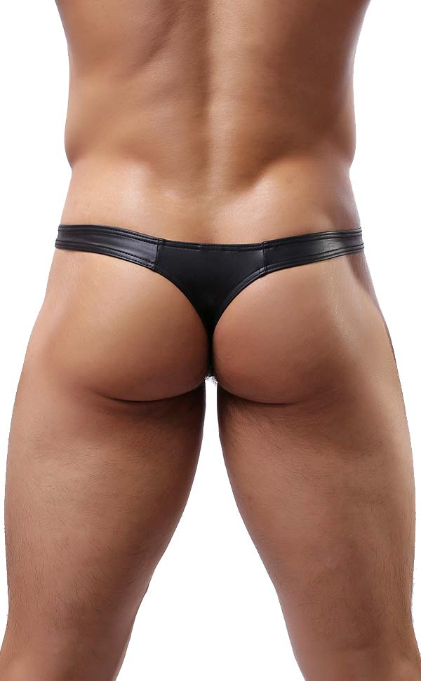Sexy Men's Faux Leather Thongs