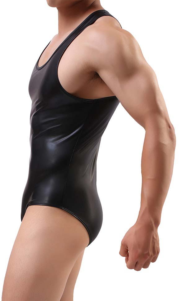 Men's Faux Leather Shaper Bodysuit Sleeveless