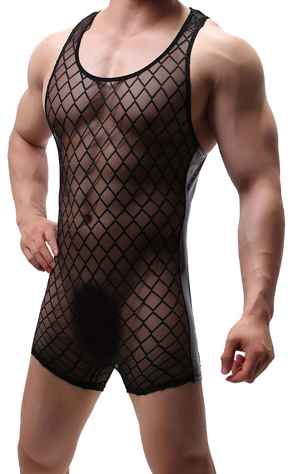 Men's Diamond Mesh Boxer Bodysuit