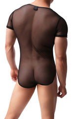 Men's Mesh Deep V Neck Bodysuit