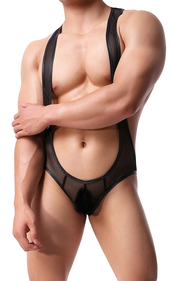 Men's Open Butt Jockstrap Bodysuit
