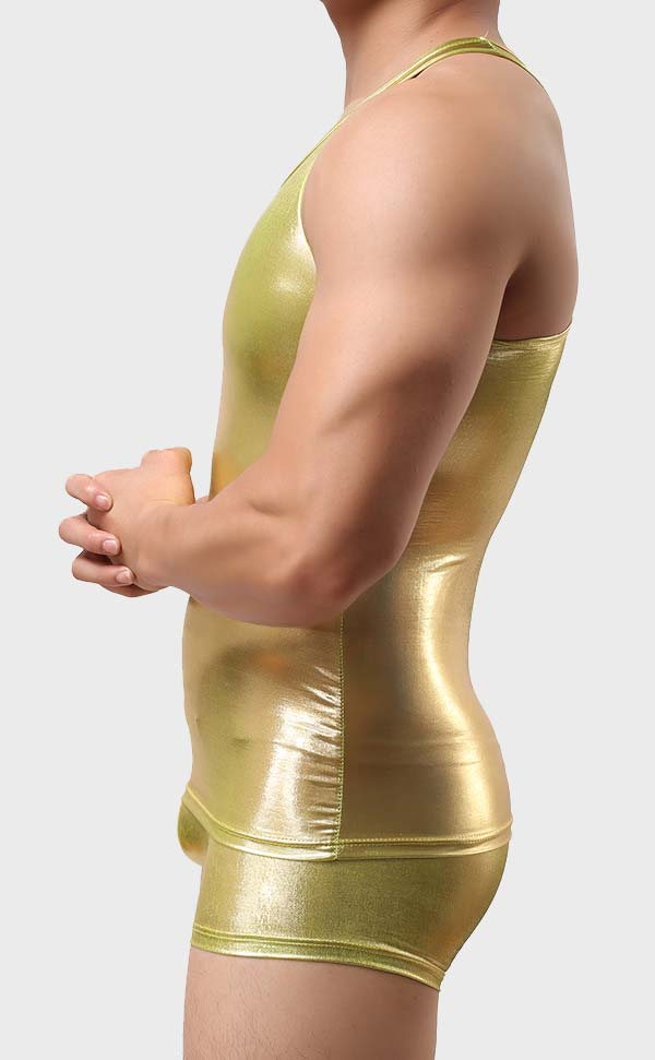 Metallic Shiny Vest Sets for Men