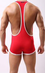 Men's Bicolor Suspender Leotard