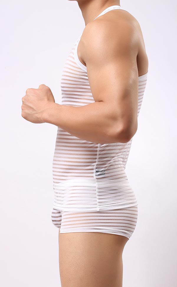 Men's Mesh Stripe Tank Top and Trunk