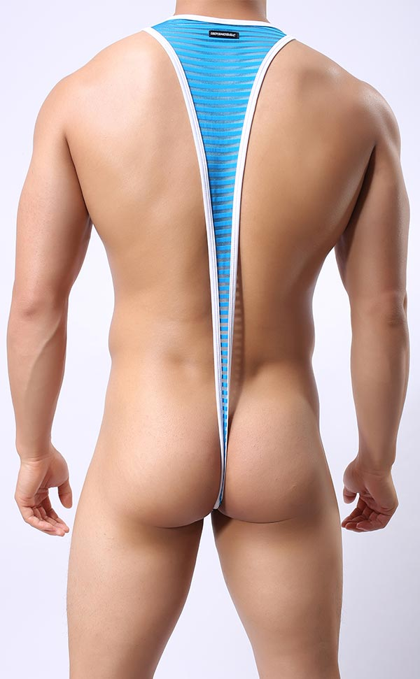 Men's Stripe Mankini Thong Bodysuit