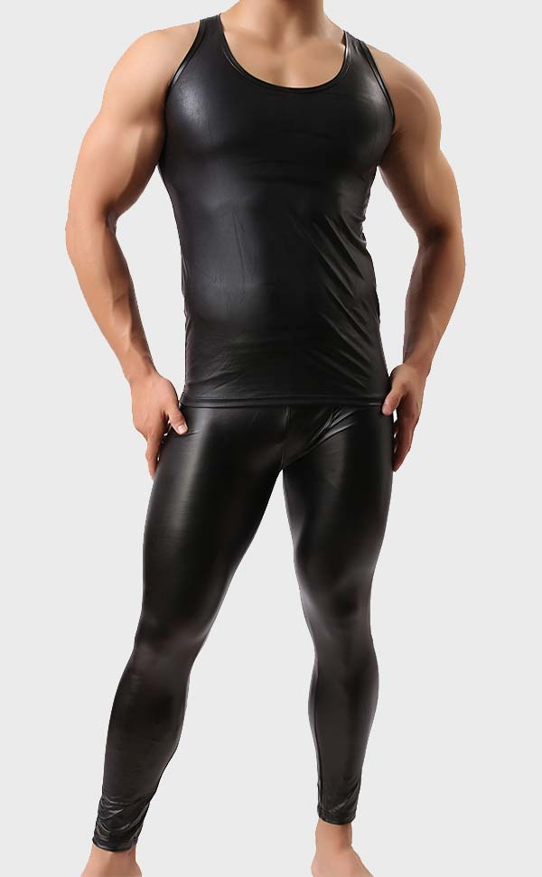 Men's Faux Leather Tank Top and Pant