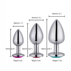 Jeweled Metal Butt Plug for Beginners, 3 Butt Plug Set