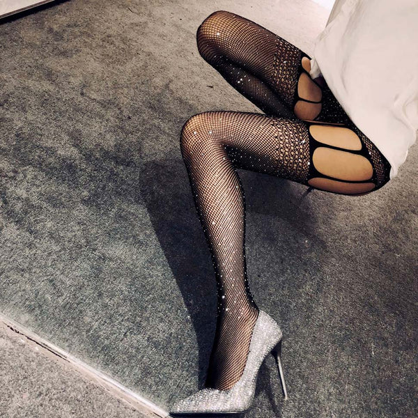 Hollow Out Rhinestone Fishnet Tights