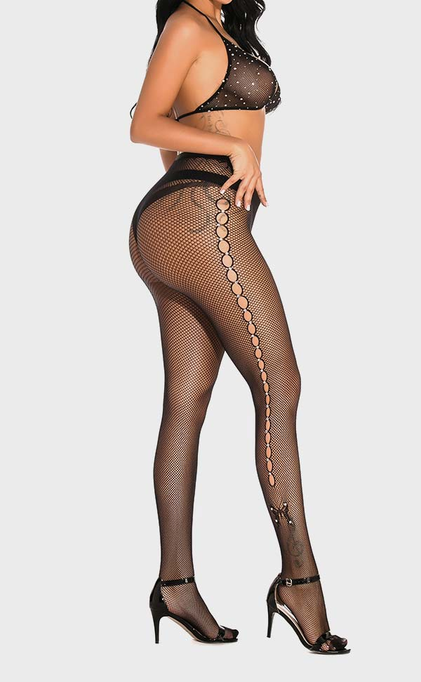 Hole Net Rhinestone Pantyhose and Bra