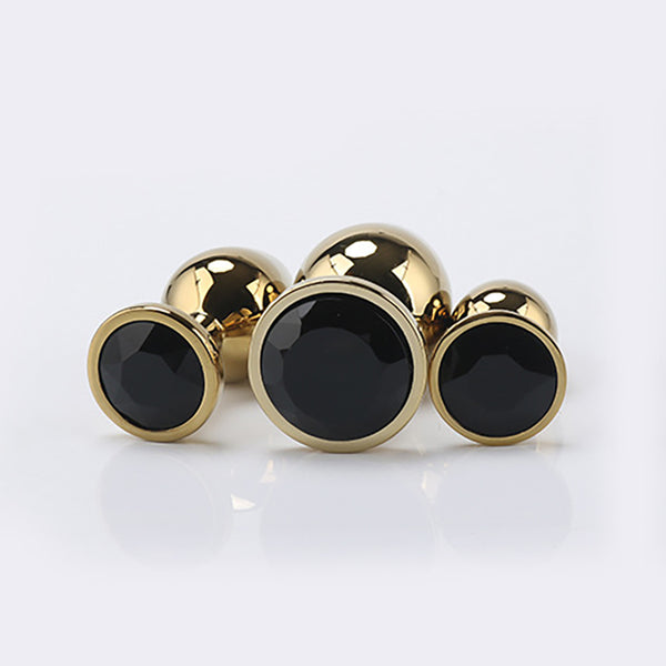 Gold Metal Jewelled Butt Plug for Beginners, 3 Butt Plug Set