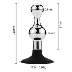 Small-Hourglass Metal Butt Plug with Silicone Cup Base