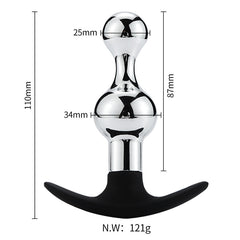 Small-Hourglass Metal Butt Plug with Silicone Anchor Base