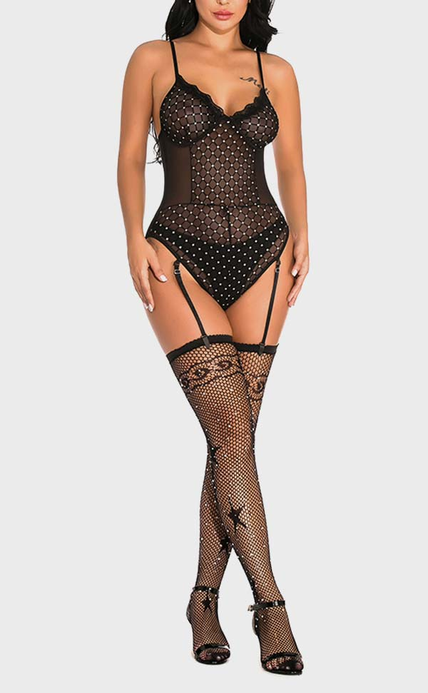 Diamond Net Rhinestone Bodysuit Sets