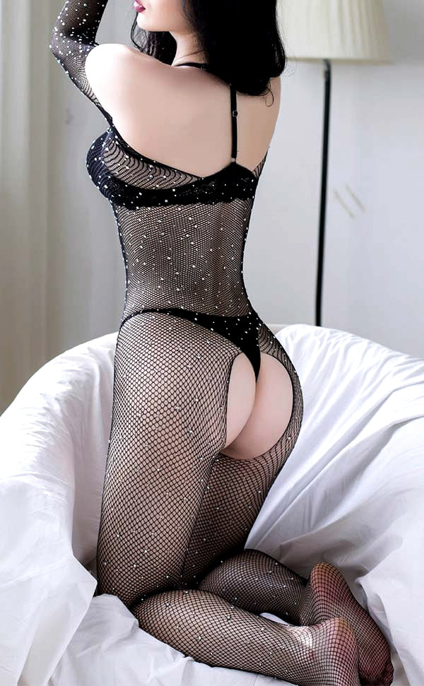 Rhinestone Crotchless Bodystocking Off Shoulder