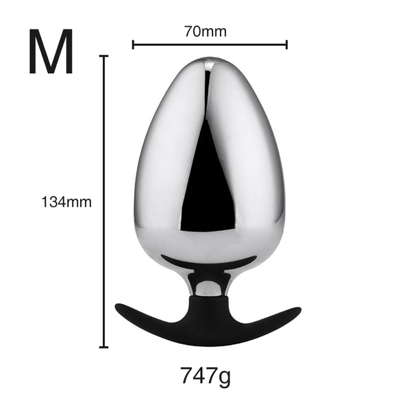 Plus Size Metal Butt Plug with Silicone Anchor Base