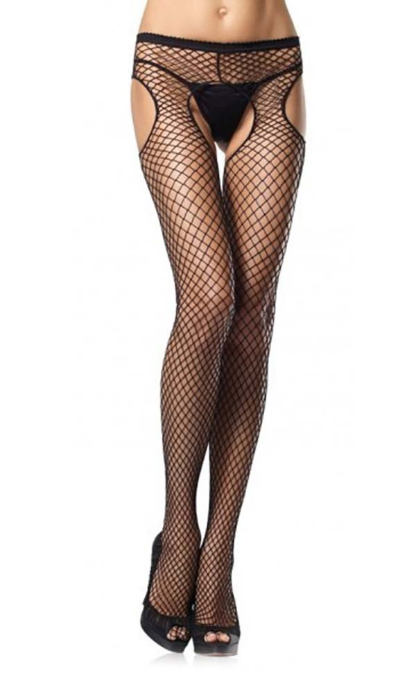 Cut-Out Diamond Net Suspender Pantyhose