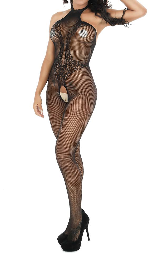 High Neck Lace Fishnet Bodystocking