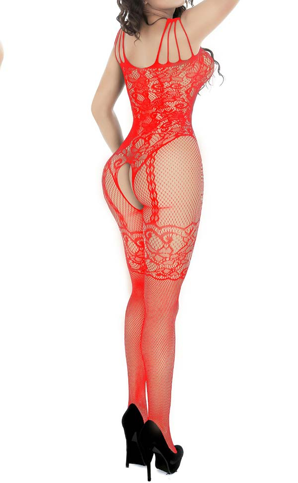 Fishnet and Lace Crotchless Bodystocking