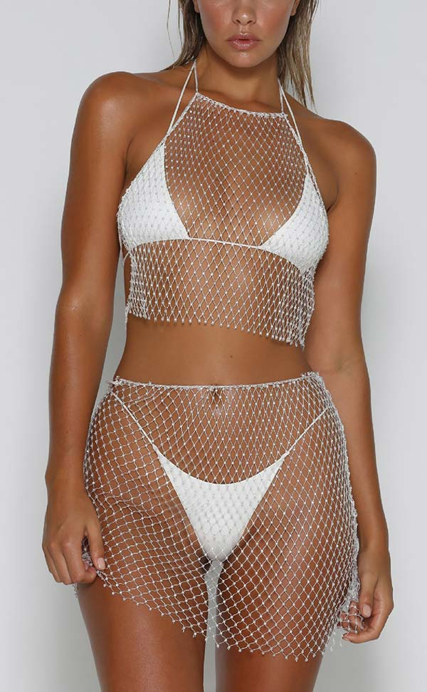 Rhinestone Fishnet Dress Sets