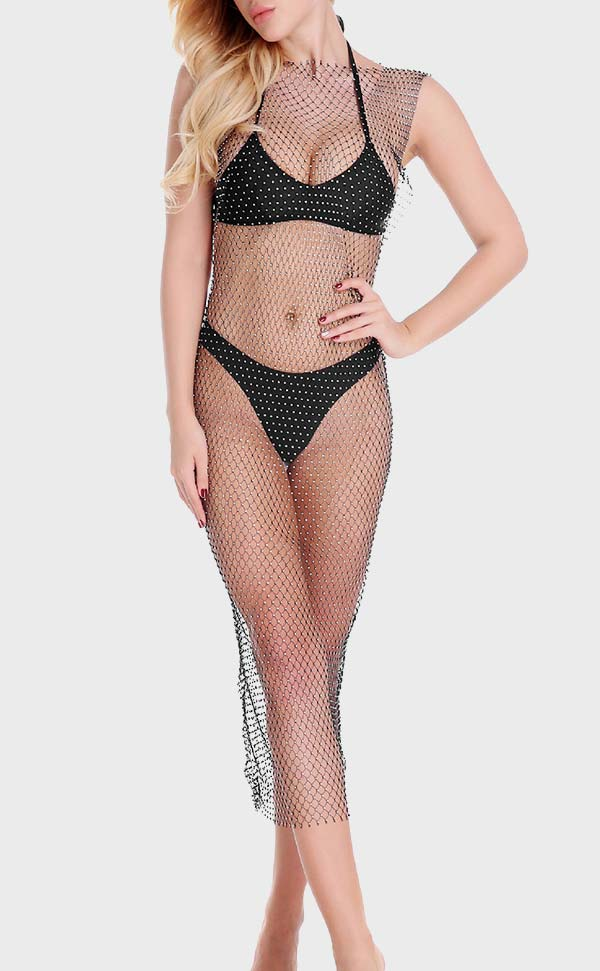 Crew Neck Rhinestone Fishnet Dress