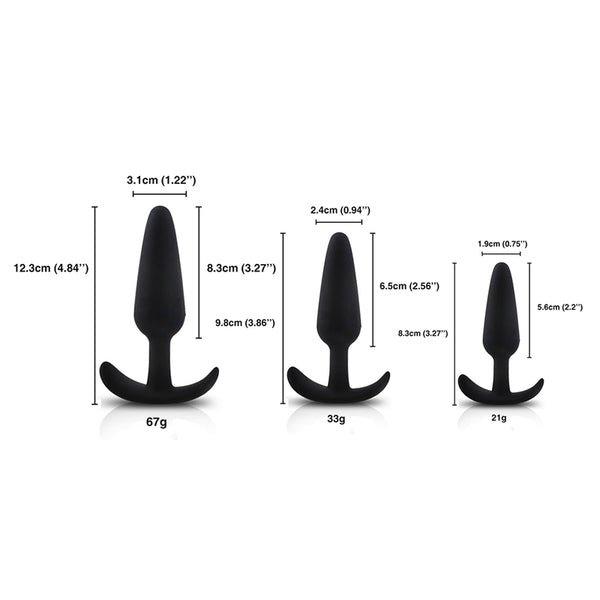 Silicone Traning Butt Plug, 3 Piece Set