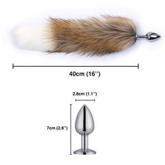 "16"" Brown Handle with White Fox Tail Butt Plug"