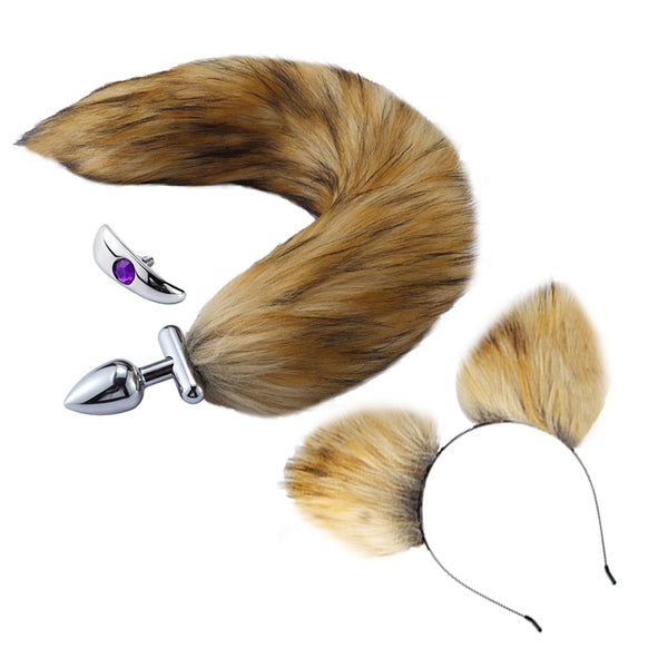 "16"" Brown Fox Tail Butt Plug with Cat Ear"
