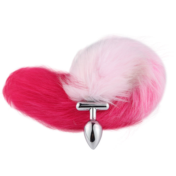 "16"" Pink with Red Fox Tail Butt Plug with Cat Ear"