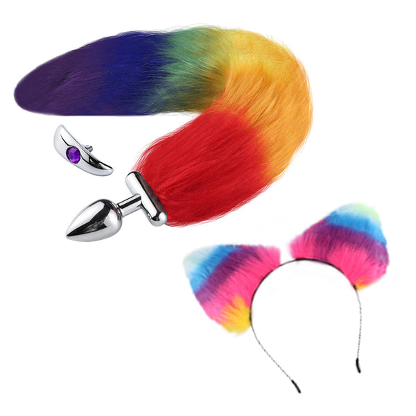 "16"" Rainbow Fox Tail Butt Plug with Cat Ear"