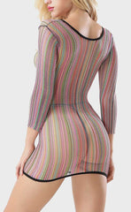Long Sleeve Rainbow Net Chemise