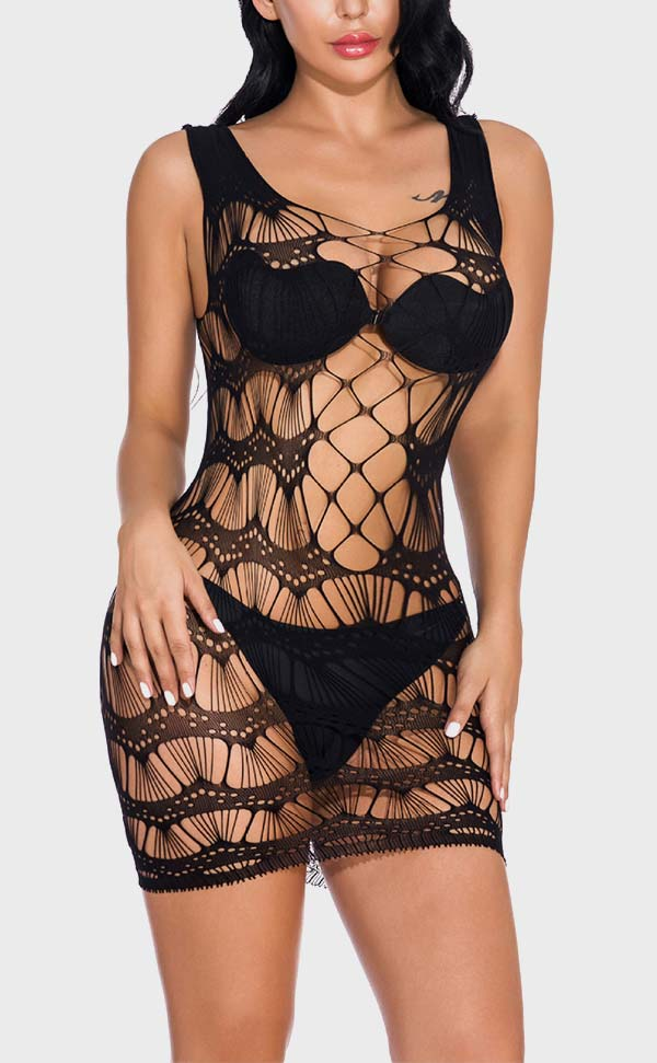 Hole Net Sleeveless Mini Dress