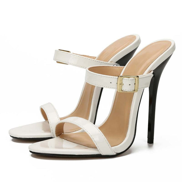 Open Toe Double Band Stiletto Sandals