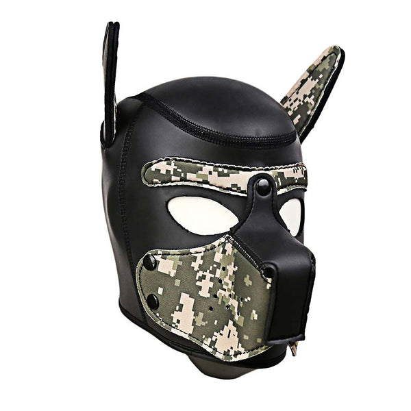 Camouflage Leather Puppy Hood with Bendable Ears