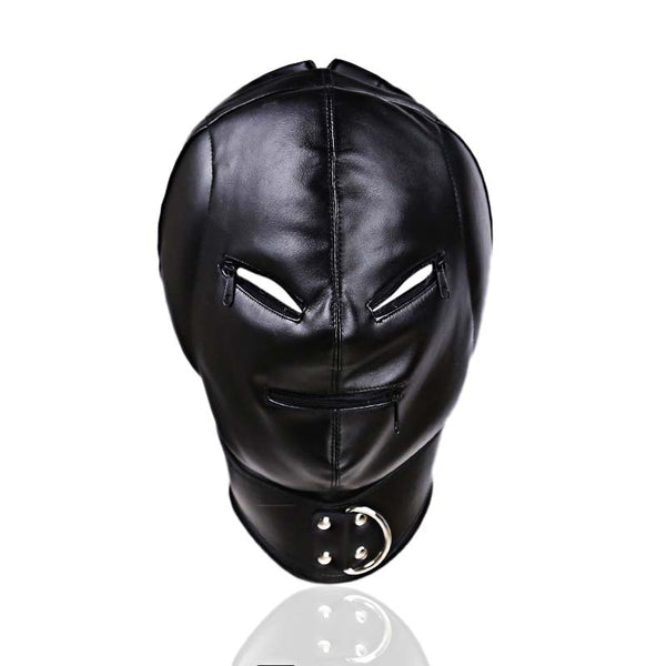 Padded PU Leather Hood with Zipper