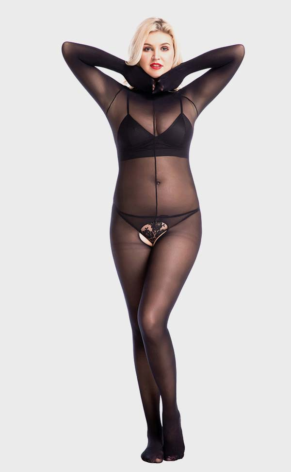Matte Crotchless Unisex Bodystockings with Fingers