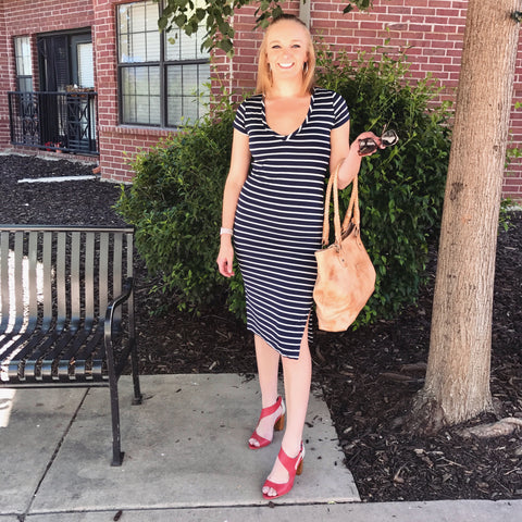 Amour Vert Striped Dress and Nina Payne Red heels