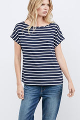 AMOUR VERT ESTHER BOAT NECK TEE IN BASQUE STRIPE blue and white