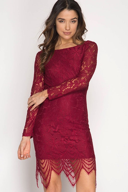 Rebecka Long-Sleeve Lace Dress in Red