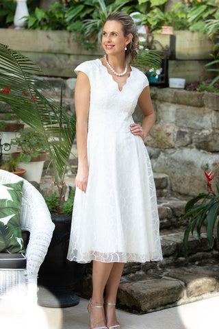 Ivory Tea Length Dress for the Understated Bride from Living Silk