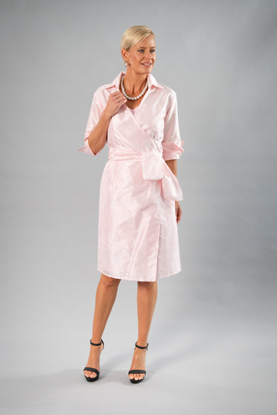 Cocktail Wrap Dress - Soft Pink
