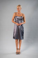Cocktail Organza Wrap Dress - Gunmetal