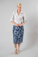 Lace Applique Pencil Skirt