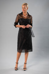 Cocktail Organza Wrap Dress - Black