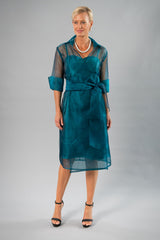 Cocktail Organza Wrap Dress - Teal