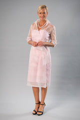 Cocktail Organza Wrap Dress - Soft Pink